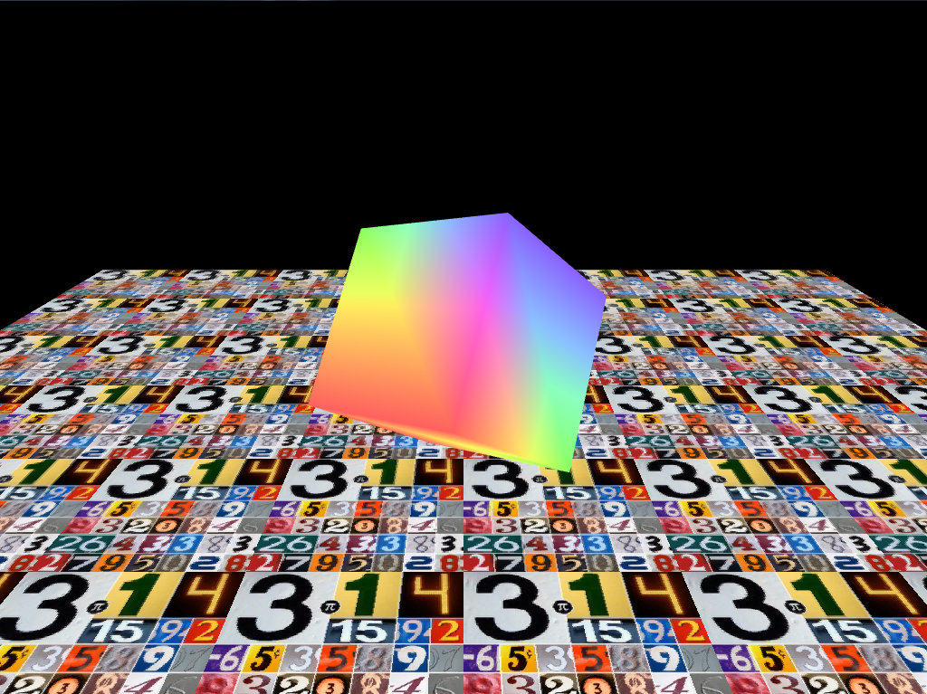 3D rotating cube with floor.